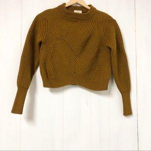 Wilfred Mustard Yellow Merino Wool Cropped Sweater